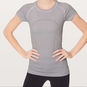 Lululemon Black and White Striped Swiftly Tee